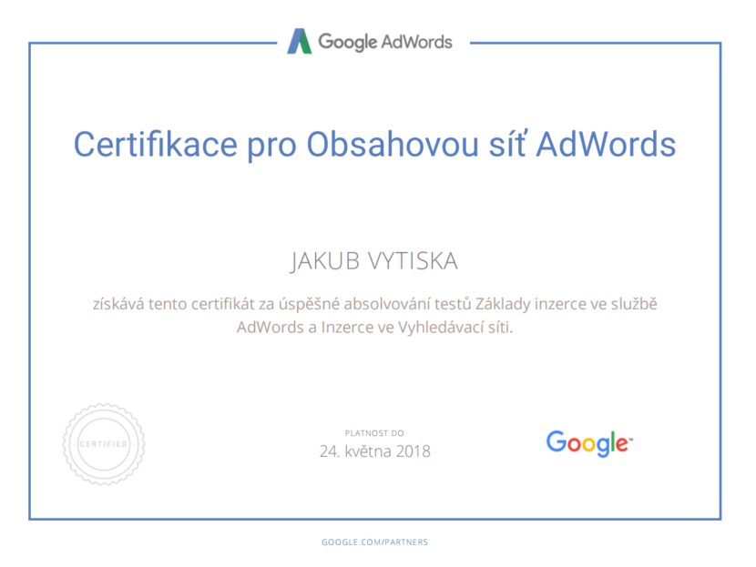 Google Partners - Certification display - Ing. Jakub Vytiska