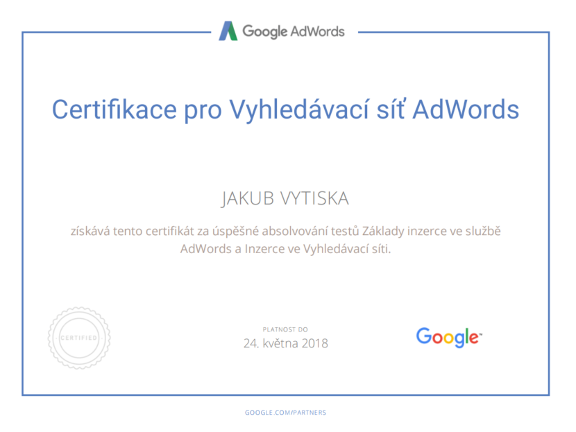 Google Partners - Certification search - Ing. Jakub Vytiska