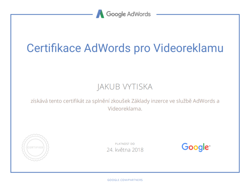 Google Partners - Certification video - Ing. Jakub Vytiska