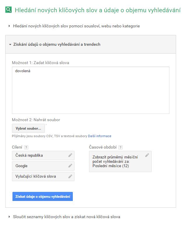 Google AdWords - plánovač klíčových slov