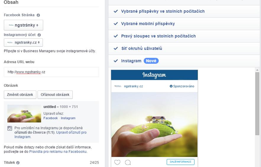 Nastavení Instagram reklamy Facebook